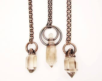 Scepter Quartz Necklace | Clear and Smoky Quartz Scepter Pendant | Smoky Quartz Crystal | Copper | Pendant | Raw Crystal Point Necklace