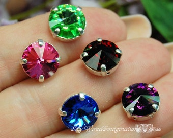 Vintage Swarovski Rivoli 1122 Sew On Crystal 10mm 5-Colors Available With Prong Setting Crystal Sew On Craft Supplies Jewelry Making