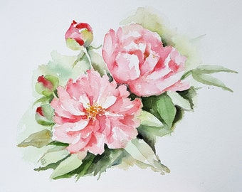Red peonies, Original watercolour painting, peony painting,  red flowers, floral art, flower art