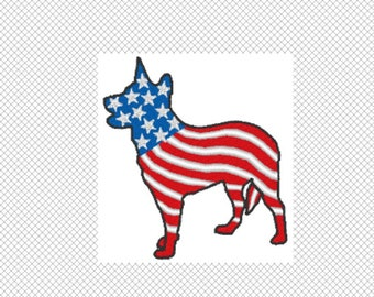 Dog Silhouette - Australian Cattle Dog Flag - Embroidery Design File - Instant Download - 2 sizes - multiple formats