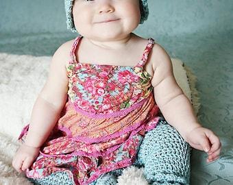 Baby CROCHET PATTERN:  'Rain Drop' Crochet Hat & Thigh-High Booties