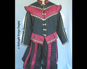 MADE to ORDER Mens Renaissance Costume Suit - Doublet with Detachable Sleeves and Paned Knee Breeches, Your Size