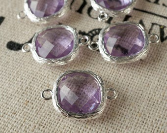 Square jewel charms pale purple glass gem jewellery supplies C221
