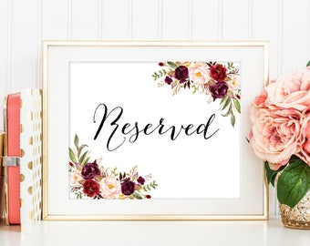 Reserved Sign, Reserved Signs For Wedding, Reserved Table Sign, Reserved Weding Sign, Reserved Lanscape, Reserved Seating Sign, Marsala