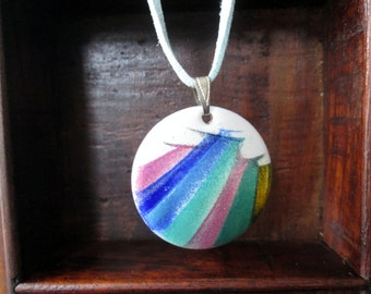 Anita Trottier of Quebec Abstract Pattern Round Enamel Pendant Necklace
