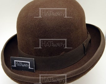 VINTAGE Wool Felt Formal Tuxedo Dura Bowler Top Hat - Brown