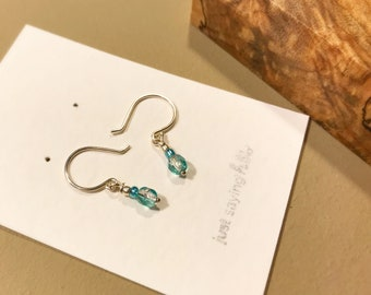 Sterling Silver Wire Earrings with Aqua-Colored Glass Beads