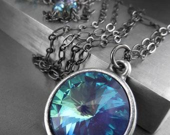 Large Mystic Ocean Crystal Necklace, Aqua Blue Mint Green Swarovski Rivoli Crystal Pendant, Round Crystal Pendant, Long Black Chain