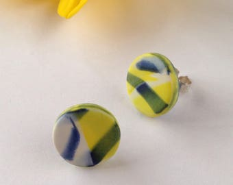 Yellow and navy earrings - polymer clay earrings - silver stud earrings - round stud earrings - gift for her - colorful jewelry - clay studs