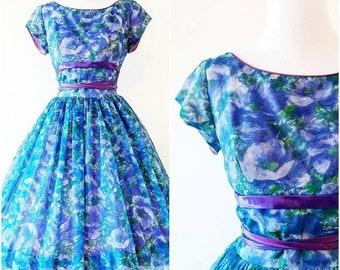 Vintage 1950's Watercolour Fit and Flare Dress | 1950's Monet-esque Dress | Vintage 1950's Dress |