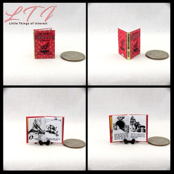 FERDINAND Miniature Book Dollhouse 1:12 Scale Book Readable Illustrated Book The Story of Ferdinand the Bull