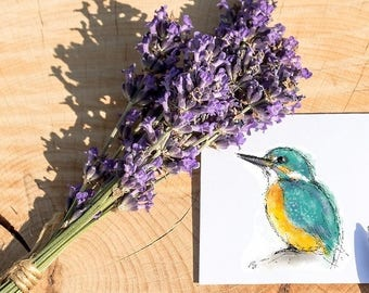 Kingfisher card // kingfisher greetings card // kingfisher birthday card // british bird card // bird card // bird watcher card