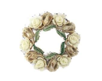 Vintage Flower Brooch, 1960's Mamselle Carved Flower Brooch, Flower Wreath Brooch, Pin, 1960s Brooch, Jewelry
