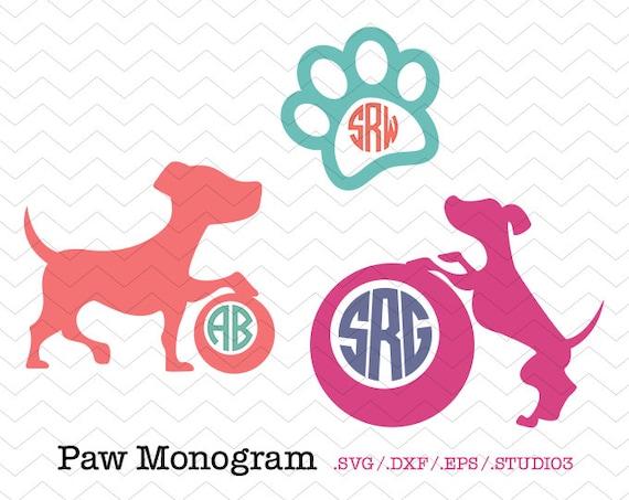Paw Prints Monogram Svg: Puppy Paw Print Circle Monogram Frames SVG DXF EPS