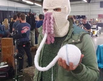 Ood hat or ski mask (Dr. Who show) with communication ball