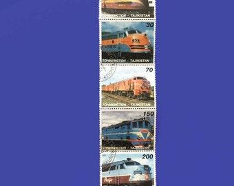 Trains Locomotives Tajikistan trains Sheet Stamps Trains Block of 5