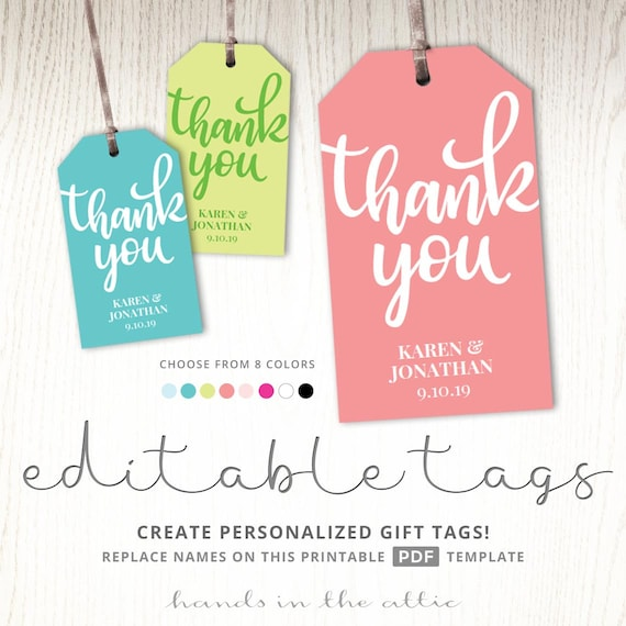Thank You Gift Tag Template Tags Printable Party Favor