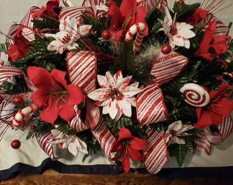 candy cane and peppermint ribbon