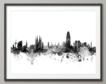 Barcelona Skyline, Barcelona Spain Cityscape Art Print (1467)