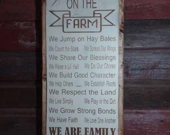 On the Farm Wood Sign