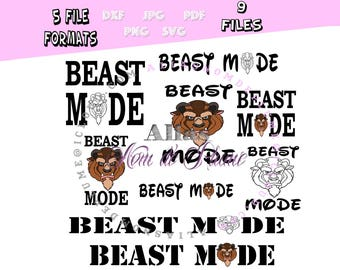 Beast Mode Silhouette Set DXF SVG PNG Cutting Files for Electronic Cutting Machines Silhoutte Disney Princess Beauty & the Beast