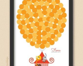 Printable Circus House Giraffe and Elephant Balloon Baby Shower Guest Book DIY Printable