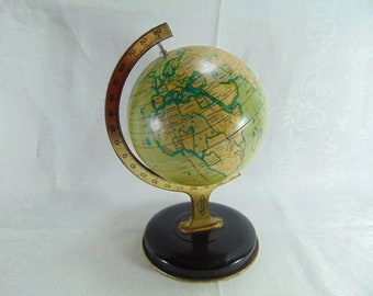 """Vintage Tin Globe on Stand, 8"""" tall,  1950'S by Reliable Series England"""