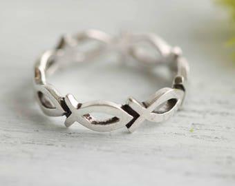 Christian Fish Ring, Ishthys Ring, Icthus Ring, Sterling Silver Fish Ring, Christian Rings, Confirmation Ring, Christian Ring Band
