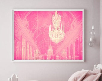 Chandelier Wall Art, Baby Girl Nursery Decor, Pink Paris Print, Versailles Chandelier, Pink Eiffel Tower Print, Pink chandelier art