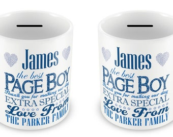 Personalised Money Box Wedding Gift Page Boy Thank You