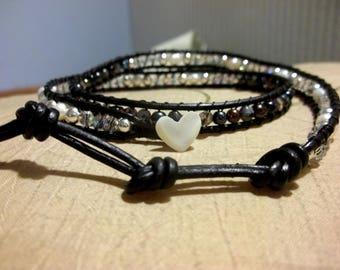 Leather Triple Wrap Bracelet, Freshwater Pearls & 925 Sterling Silver OOAK