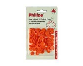 BabySnap 20 plastic push Buttons Orange B55