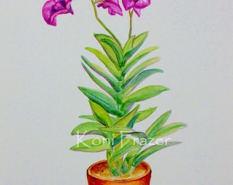 Purple Orchid plant, original watercolor painting