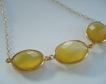 3 Stone Journey Necklace, Gold Necklace, Chalcedony Necklace, Yellow Necklace, 17 inch gold necklace