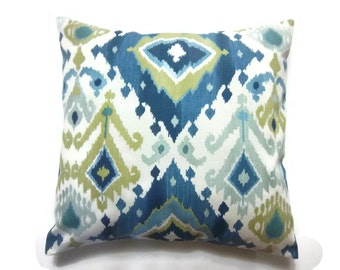 Decorative Pillow Cover Slate Blue Citrine Ivory Turquoise Ikat Design Toss Throw Accent Same Fabric Front and Back 18x18 inch x