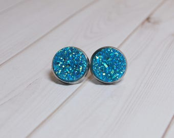 Druzy earrings - blue druzy - druzy stud earrings - druzy earring set - blue earrings - hypoallergenic earrings - stud earrings