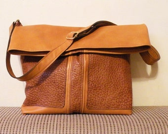 "sale - ooak leather tote – lined handmade fashion bag - orange brick color bag with pockets - genuine leather bag ""ANATOLIA"""