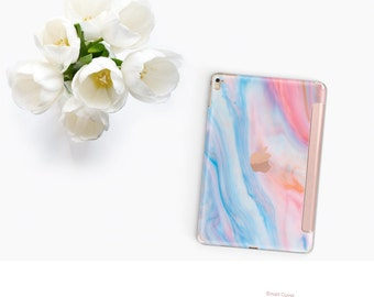 iPad Case . iPad Pro 10.5 . n Pastel Marble with Rose Gold Smart Cover Hard Case for  iPad mini 4  iPad Pro  New iPad 9.7 2017