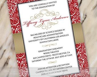 graduation invitations, red and gold graduation invitations, gold and red graduation invitations, crimson graduation invitations, IN387