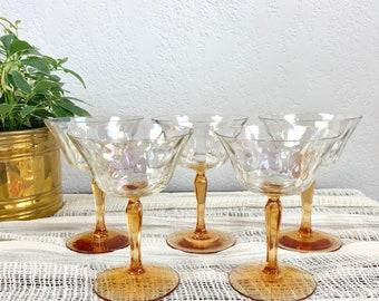 Beautiful Vintage Peach Iridescent Stemware - Set of 5 / Shiny Champagne Glasses / Precious Antique Glassware