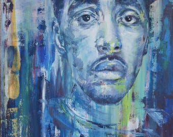 Expressive portrait painting. Blue. Contemporary oil painting.