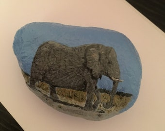 Elephant hand painted rock