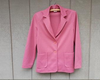 Size M/L Women's 70s 80s Blazer Work Jacket // dusty rose pink polyester // shoulder pads // Graff Californiawear
