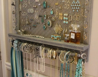 ON SALE You Get To Pick The Stain, Mosaic Mesh, Colonial Trim Series Wall Mounted Jewelry Organizer with Bracelet Bar, Necklace Holder