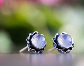Moonstone Earrings // Moonstone Post Earrings // Moonstone Ear Studs // Moonstone Stud Earrings // Gemstone Stud Earrings
