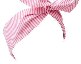 Pink and White Stripe Wire Headband, Dolly Bow, Girly Pin Up Hair Wrap