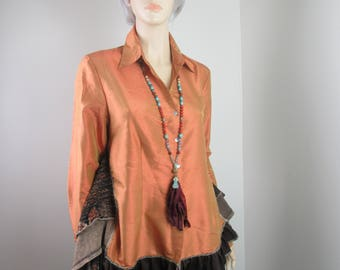 Lagenlook Boho Tunic Blouse Silk Tangerine & Brown Button Down with Ruffles and Side Vents One Size Fits S - L