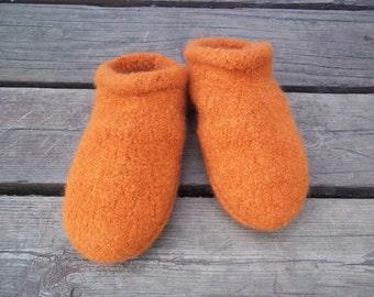 Felt Clog Slippers Knit Orange non slip bottom