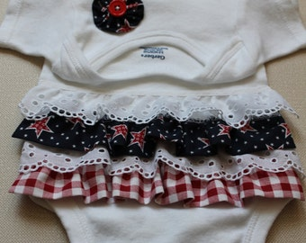 Fourth of July Baby Outfit -  Red, White and Blue Baby Onesie Outfit - Baby Ruffle Bum Onesie - Summer Onesie