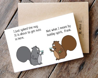 Spiking the Nog - Printable Funny Squirrel Christmas Card